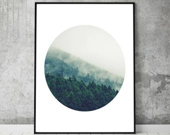 Forest,poster,wall decals,nature,tree,print,wall art,art,fog,landscape,woods,mountain,photography,photo,gifts,digital download,printable