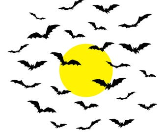Bats and Moon Decal | 24 Bats w/ Optional Moon | Halloween Decal | Halloween Wall Decal | Wall Decal | Bat Halloween Wall Decal | Bats Moon