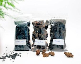 Terrarium kit, terrarium kit, activated charcoal, terrarium diy, pouzzolane, terrarium substrate, coal terrarium, terrarium, sphagnum