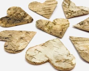 Wooden heart, 8 pcs, Christmas decoration, heart bark, wood, creative leisure, scrapbooking, fir decoration, autumn decoration, garland
