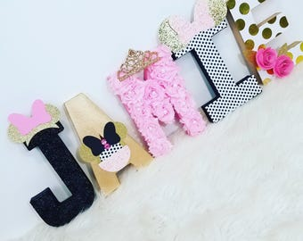Minnie Inspired Letters ~ Pink and Gold ~ Decorative Letters