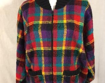 Big Cozy Colorful 80 s Sweater M L 49ac4e3c9