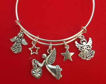 Silver Angel Themed Charm Bracelet