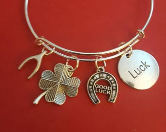 Silver Good Luck Themed Charm Bracelet