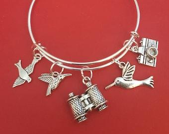 Silver Bird Watcher Themed Charm Bracelet