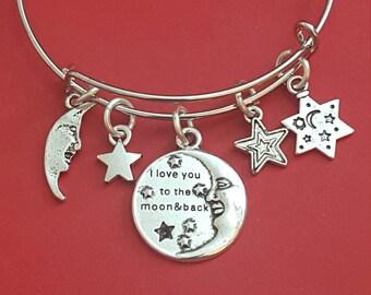 Silver Celestial Themed Charm Bracelet