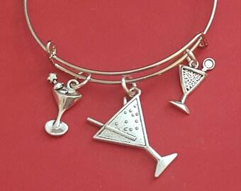 Silver Martini Themed Charm Bracelet
