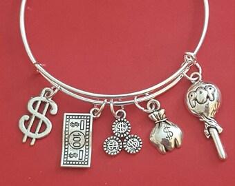 Silver Banker Themed Charm Bracelet