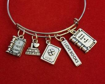 Lisez Book Lover/'s Verre Cabochon Tibet Silver Bangle Bracelets Fashion
