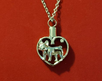 Capsule Urn with Charm Ashes Holder Necklace for American Bulldog Dog Keepsake Jewelry