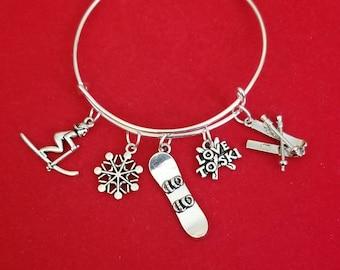 Silver Ski Themed Charm Bracelet