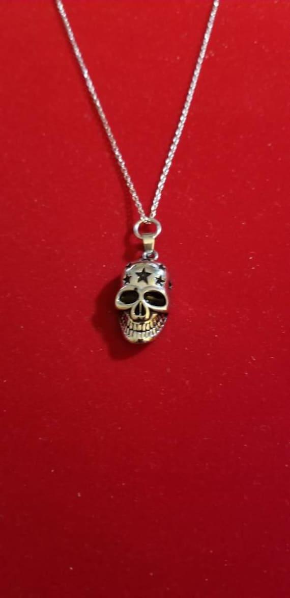 Silver Skull Urn Necklace Ashes Cremation Jewelry Cremation Necklace Urn Skull Mens Urn Men Motorcycle Keepsake Memorial