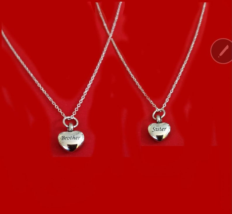 Keepsake Memorial Silver Brother andor Sister Small Heart Urn Necklace Sister Cremation Necklace Brother Cremation Jewelry Urn