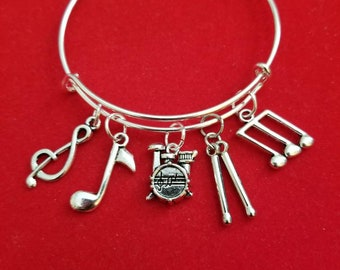 Silver Drum Themed Charm Bracelet