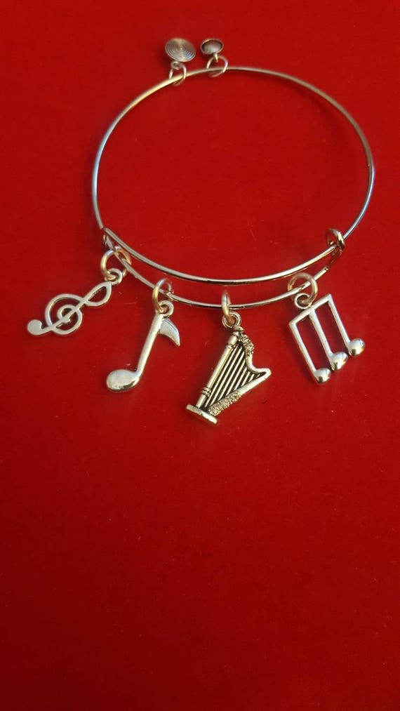 DOG Charm Pendant ANGEL wings HARP Memorial STERLING SILVER 3D solid 925 .925