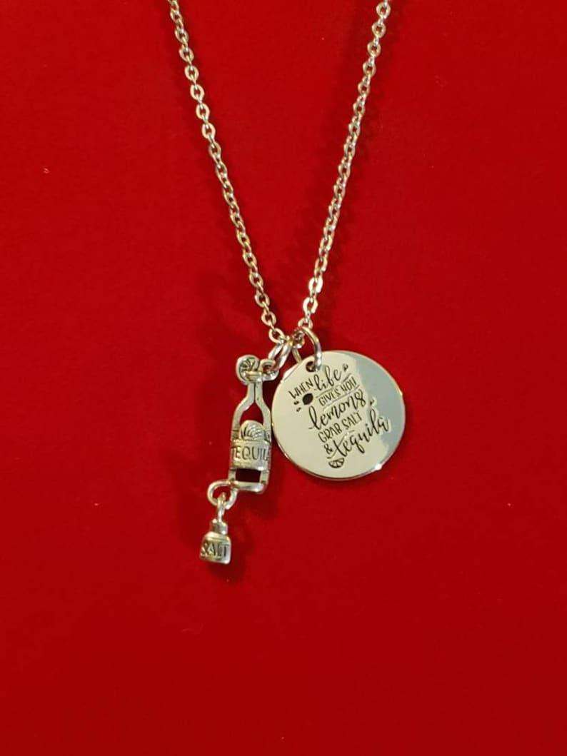 Bartender Inspiration Necklace Inspirational Gift Bartender Gift Silver When Life Gives You Lemons Charm Necklace