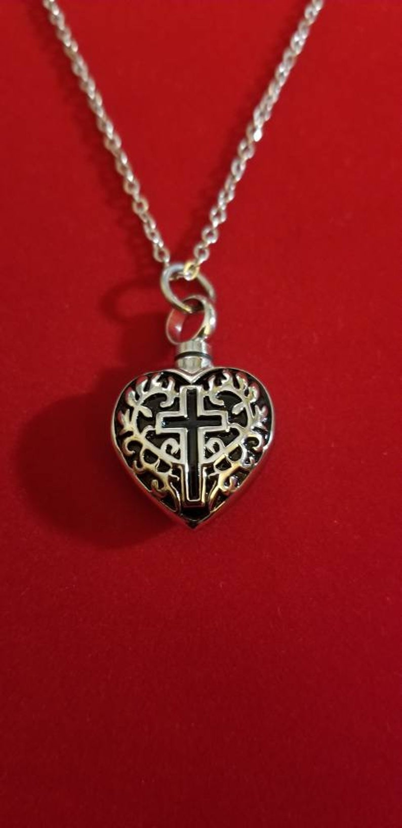 Silver Cross Heart Urn Necklace Ashes Father Urn Keepsake Memorial Cremation Necklace Mother Cremation Jewelry Urn Jewelry