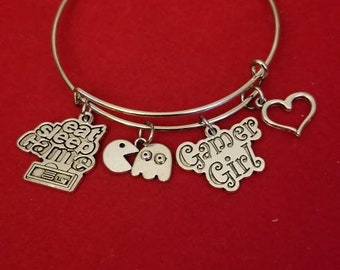 Silver Video Game Themed Charm Bracelet