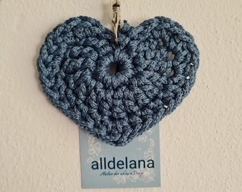 Keychain JEANSBLAU in heart shape, also fits the operator's collar, handmade