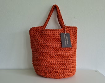 Tote bag, TERRACOTTA, tote bag, Scandinavian style, rustic hose strap, crocheted, in many colors, approx. 32 x 36 cm, handmade