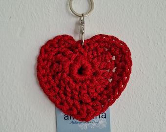 Keychain RED in heart shape, also fits the operator's collar, handmade