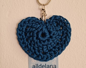 Keychain BLUE in heart shape, also fits the operator's collar, handmade