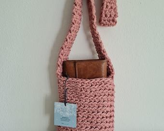Shoulder bag, PINK, crocheted in rope yarn, cross-body, many colors, shoulder bag, handmade