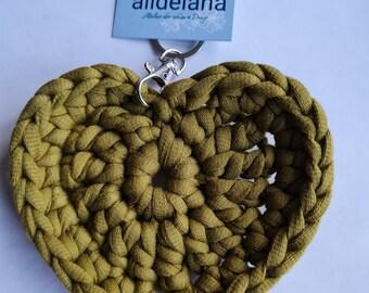 Keychain OLIV in heart shape, matching the crochet bag tote bag, handmade