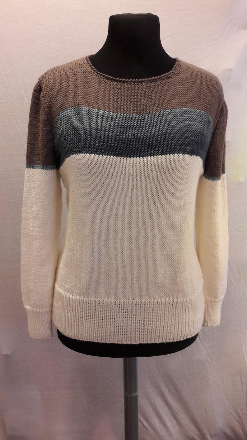 Lady's cashmere sweater silk and merino handmade size image 0