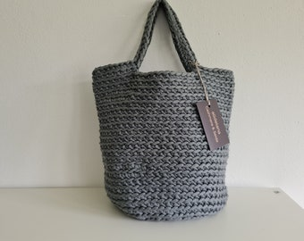 Tote bag, STEINGRAU, tote bag, Scandinavian style, rustic hose strap, crocheted, in many colors, approx. 32 x 36 cm, handmade