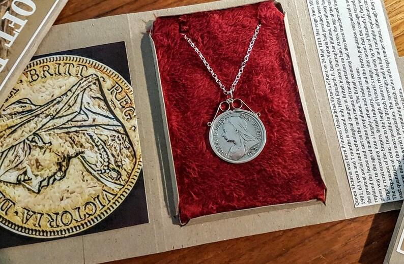 Vintage Plata suerte seis peniques Moneda Collar Joyería Regalo Único