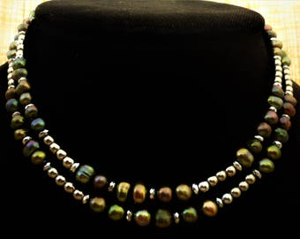 Green Pearl Necklace with Hematite. Pearl Jewelry. Silver Hematite Necklace. Dark Green Necklace. Grey Gray Necklace. Long Necklace. Greek