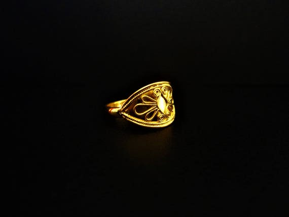 18K 22K Solid Gold Ring  Ancient Greek - Roman - Byzantine Reproduction  Jewellery  Archaic - Grecian Jewel  Fully Handmade  Fine & Delicate