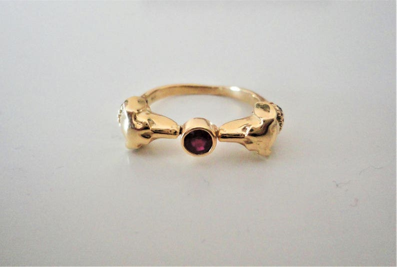 18K Solid Gold Dog head Ring. Personalized: Ruby Emerald image 0