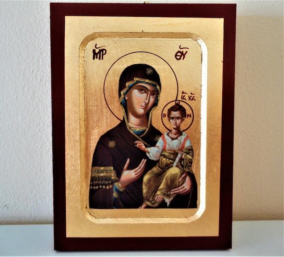 24K or icône. Icône de la Vierge Marie. Sainte mère icône. Icône de notre Dame. Icône de Panagia. Bébé Jésus icône. Icône de Jésus Christ. Icône orthodoxe grecque.