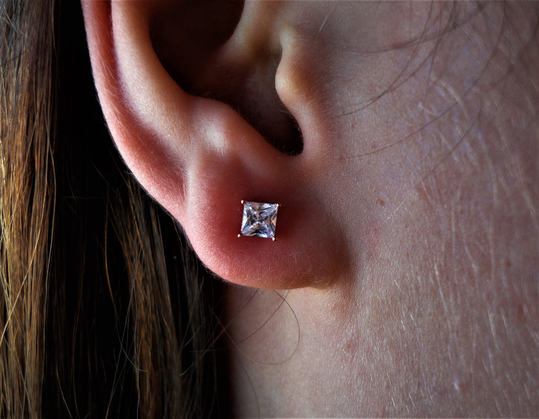 1 Ct Princess Cut Created Diamond Stud Earrings 925 Sterling Silver Rose Gold