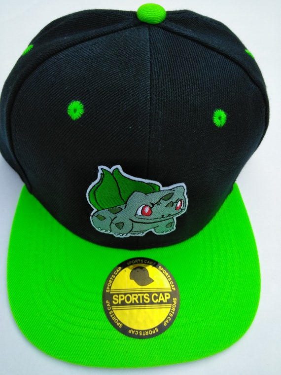 2d987aba039 Bulbasaur pokemon snapback hat black and green hat with