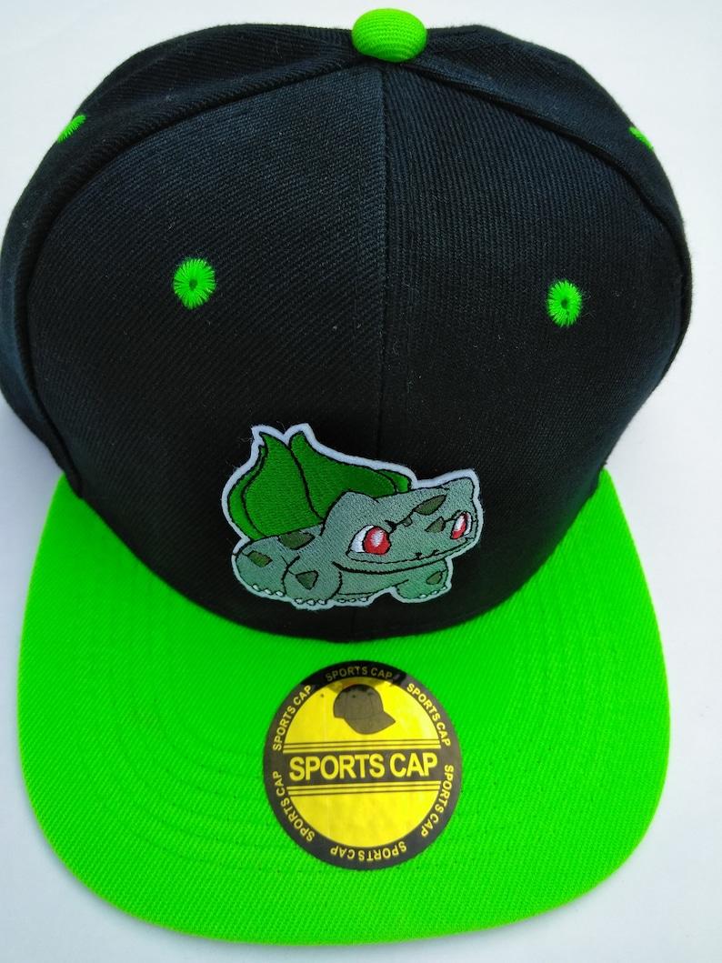 05e796a00 Bulbasaur pokemon snapback hat black and green hat with bulbasaur logo