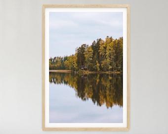 Forest print, printable wall art, water reflection, wall art, Finland print, nature poster, scandinavian print, lake print, symmetry, autumn