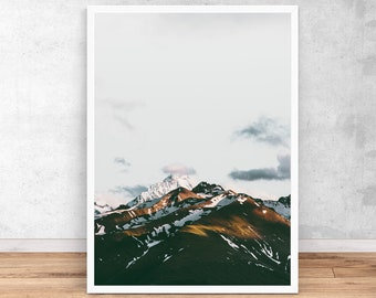 Mountains Print, Wall Art Print, Interior Decor, Printable Digital Download, Sunset mountains Landscape Poster, Home decoration wild nature