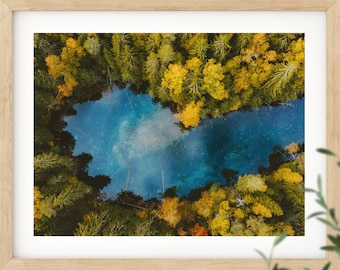 Forest print, aerial view, printable wall art, scandi print, wall art, Finland print, nature poster, scandinavian print, digital print, lake