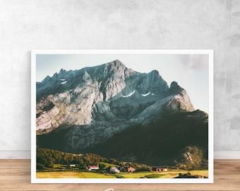 Norway print, Norway printable wall art, scandi print, norwegian wall art, mountain print, nature poster, Norway poster, landscape print
