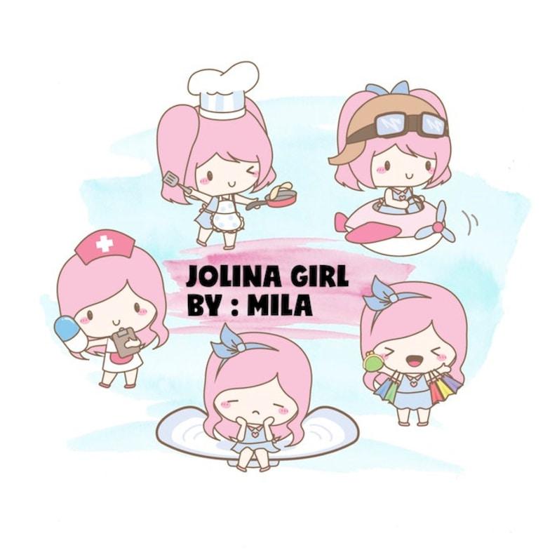 Kawaii Jolina Girl mixed planner clipart