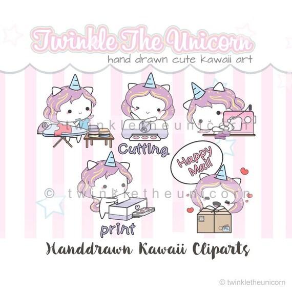 Kawaii Unicorn mixed planner clipart set