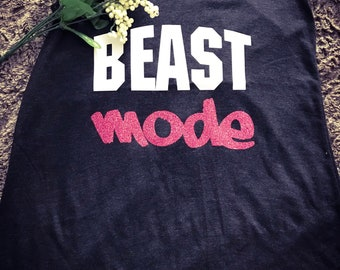 Beast Mode Woman's Racerback in VintageBlack