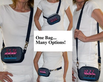 Denim on Denim Bag Combo: Belt Bag / Cross Body Purse / Sling Bag / Shoulder Purse with Runway Inspired Pink Flamingos Custom Embroidery