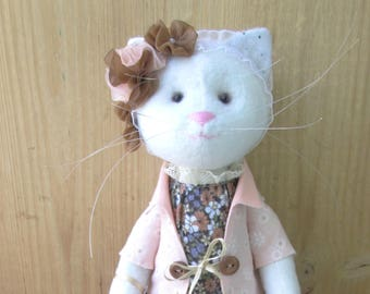 Cat Handmade Doll Rag Doll  Cat Fabric Doll Cat Stuffed Toy Cat Doll   Cloth Doll Cat Plushie  Decorative Toy Gift Girl Gift Cat Lover Gift