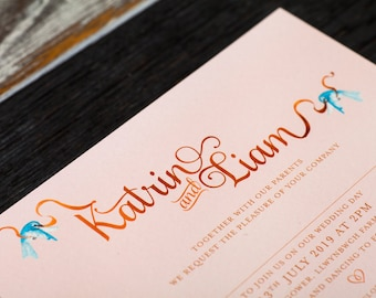 Fairytale Wedding Invitation | Rose Gold and blush invitation, for a fairy tale disney princess wedding, subtle disney wedding stationery
