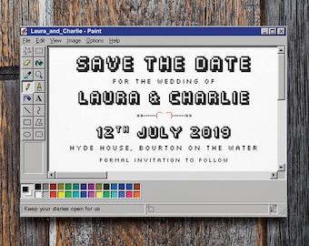 Retro Save the Date | geek wedding, nerd wedding, microsoft paint, ms paint, save the date, save our date, pixel wedding, nerd