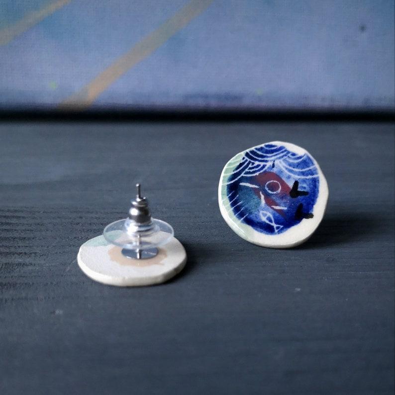 Stud earrings  Blue sky earrings  Ceramic jewelry